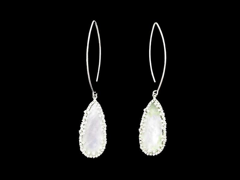 OVAL HOOK EARRINGS WITH LONG MOTHER OF PEARL AND SWAROWSKI CRYSTAL BORDER
