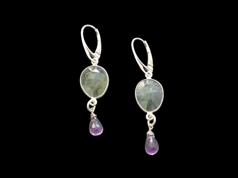 GEMSTONE WITH SILVER BORDER, FRENCH HOOK, AND DROP STONE