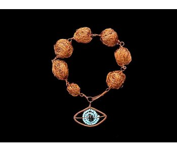 LARGE COPPER BEAD BRACELET WITH LARGE COPPER EYE