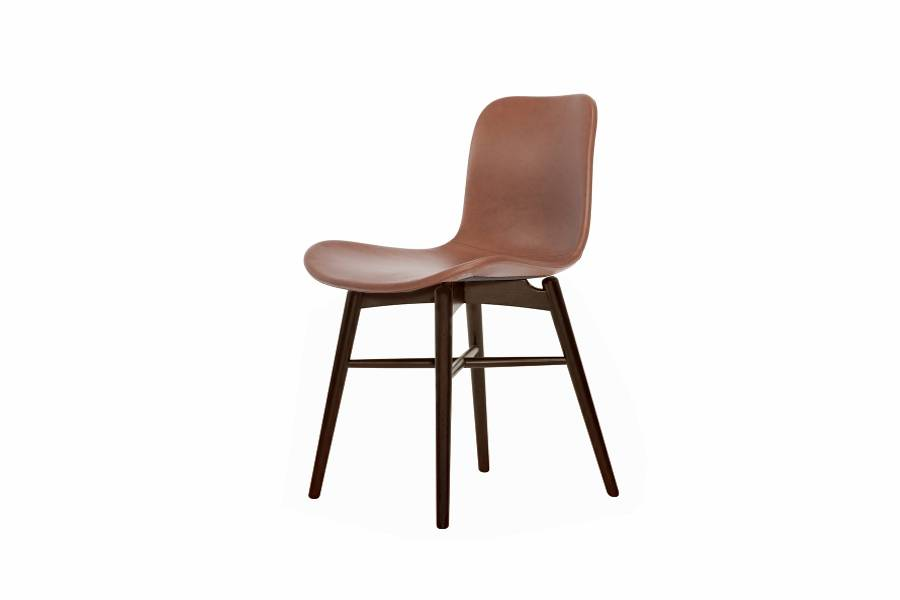 NORR11 Langue Original Dining Chair, Dark Stained - Leather