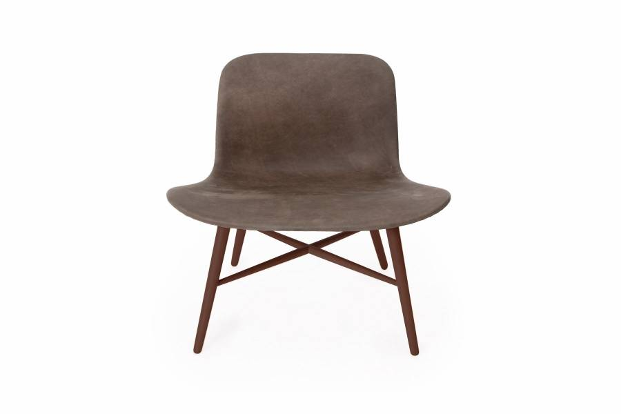 NORR11 Langue Original Lounge Chair, Leather Dark Stained