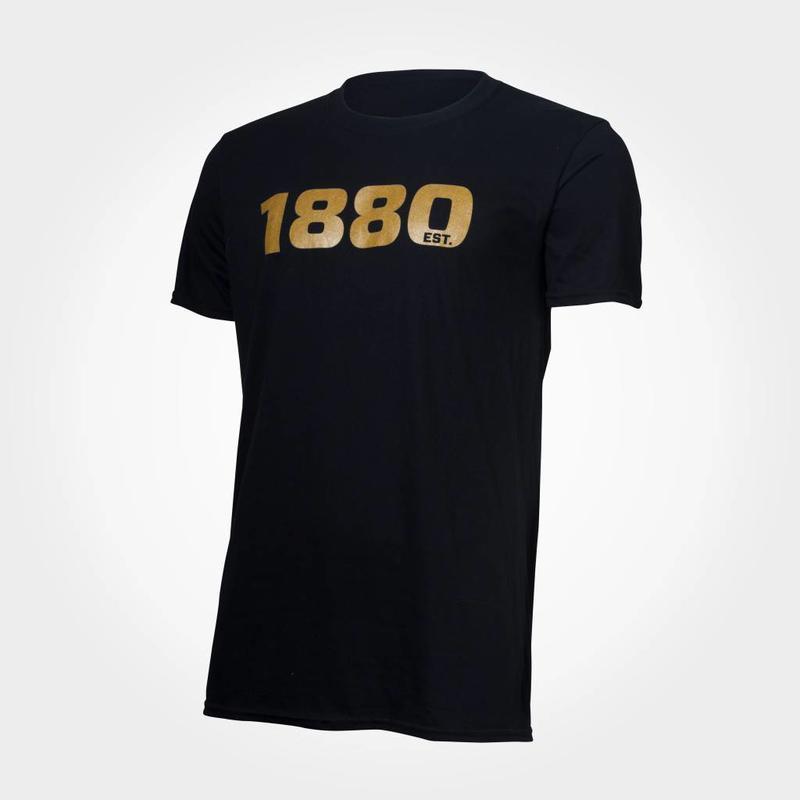 """Antwerp Official T-shirt - """"1880"""" - Zwart/Goud"""
