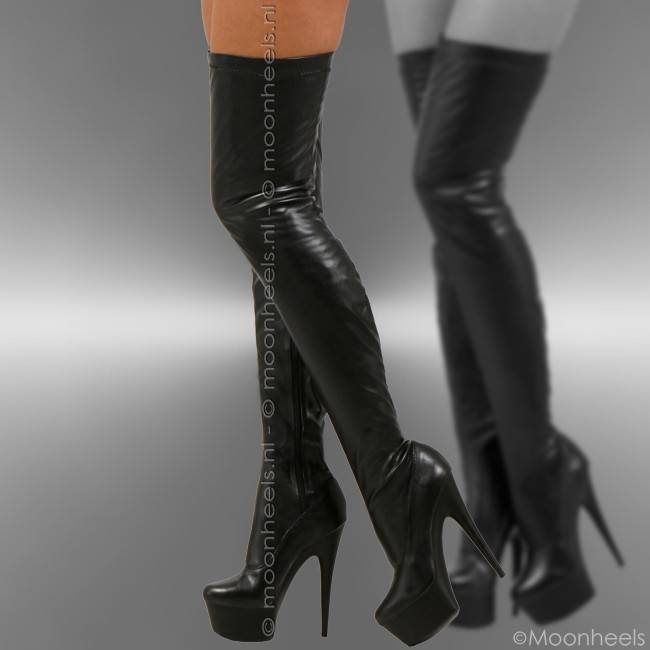 Classy black stretch leather look platform over knee boots
