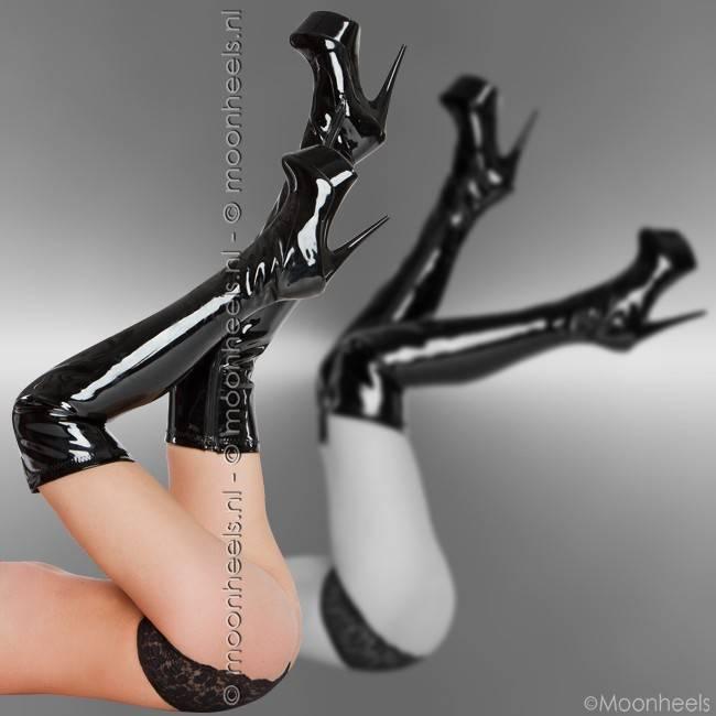 Stijlvolle zwart lak plateau overknee laarzen