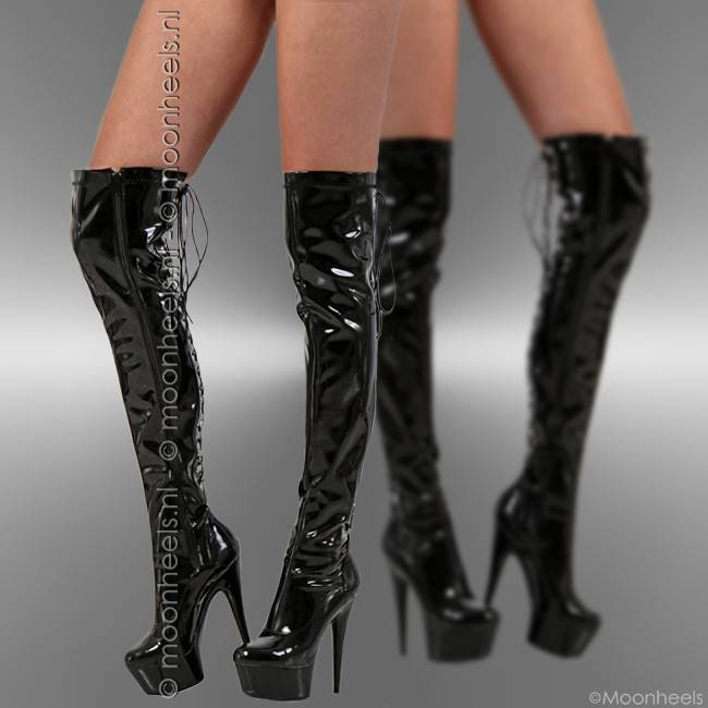 Elegant black lacquer over knee boots with chic corset lace detail