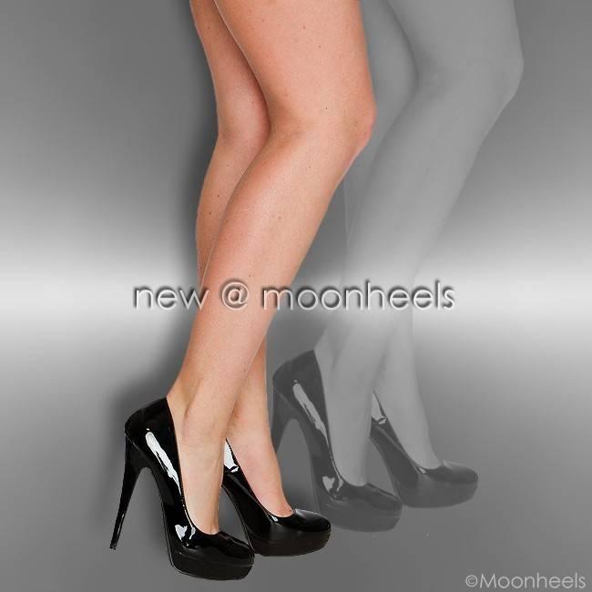 Black patent high heels with platform