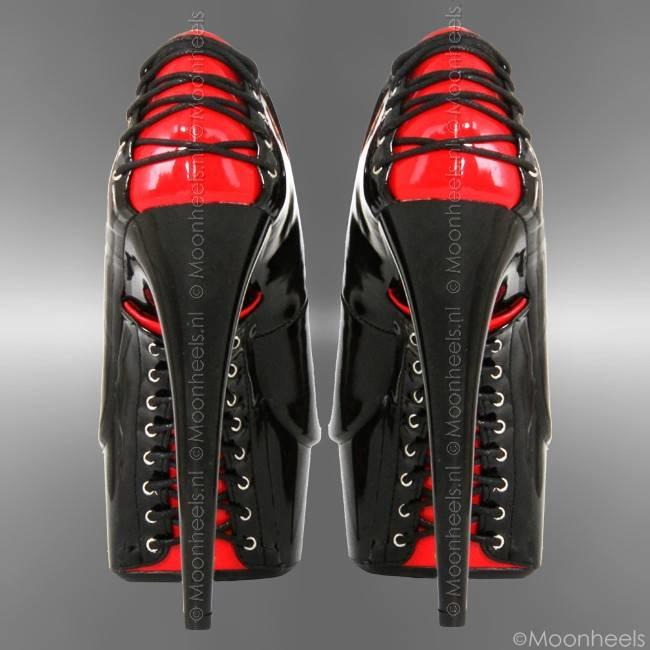 Classy lacquer high heels with red and black corset closure