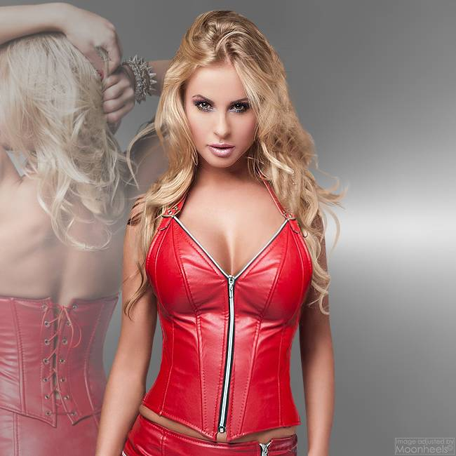 Soleil Fashion Corset of Red Faux Leather