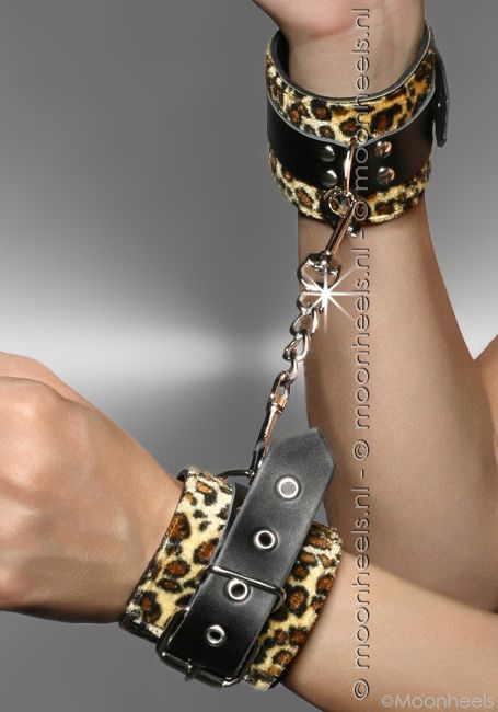 "Leopard leren handboeien/armbanden ""Cleopard"""