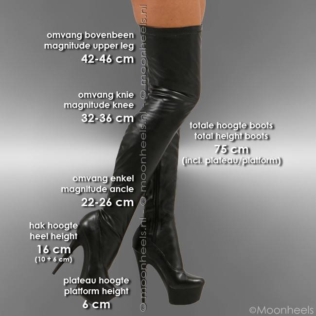 Classy zwart stretch leatherlook plateau overknee laarzen