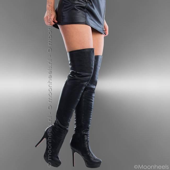 Hoge Zwarte Laarzen met rode zool en plateau