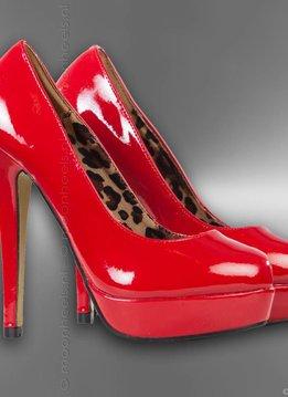 Rode lak high heels met plateau
