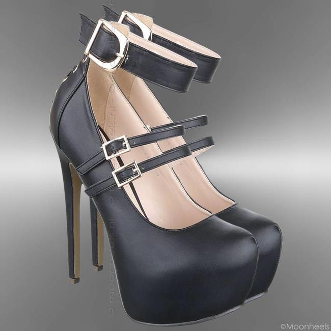 High Heels leather look inner platform corset closure on heel