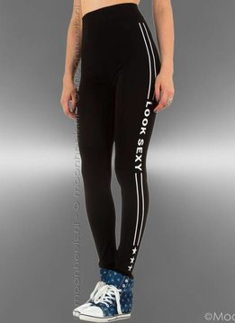 "Legging zwart - wit ""Look Sexy"""