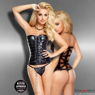 "Provocative Zwart leatherlook korset ""Vixen"""