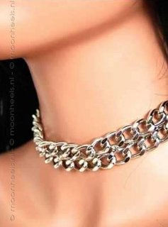 Leather Collar with flat silver plates - Copy - Copy