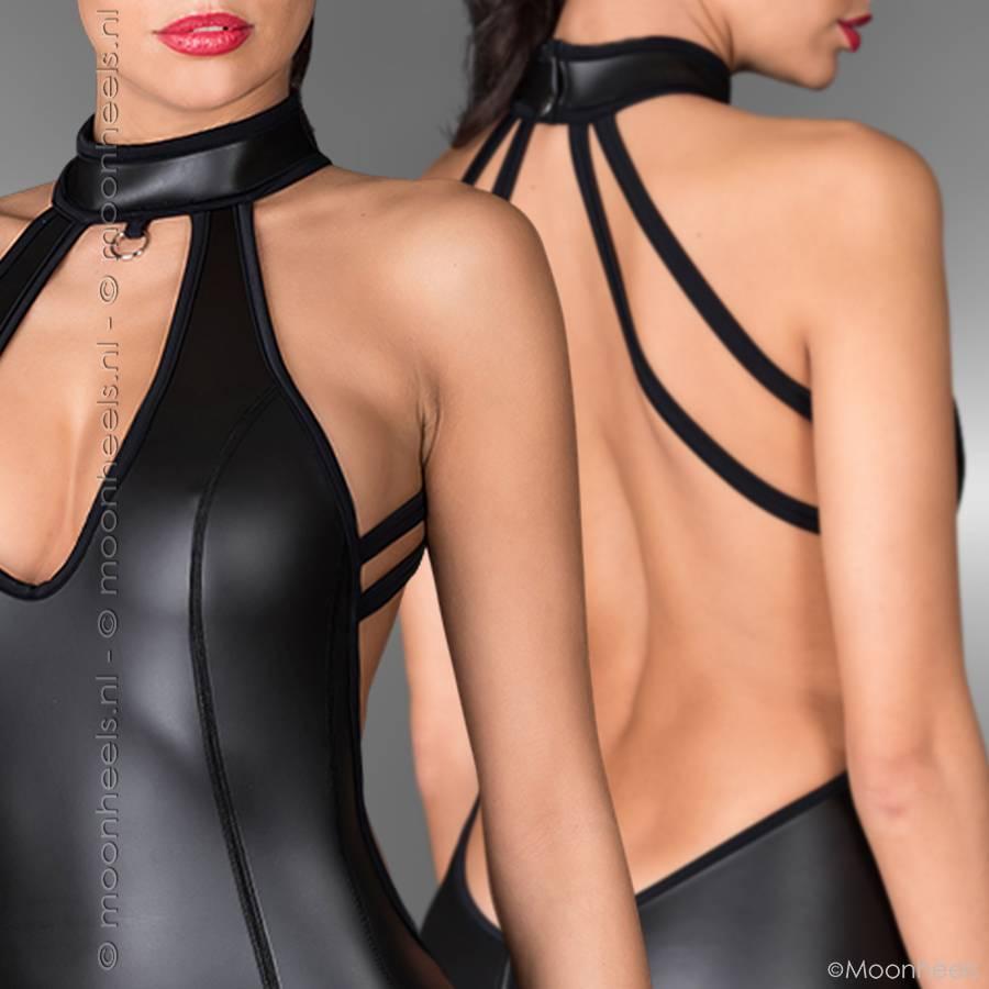Kinky  jurk neopreen (rubber) met collar en sensationele open rug