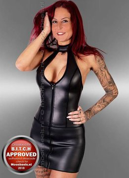 Kinky  dress neoprene (rubber) met nice lace-closure at the front - Copy