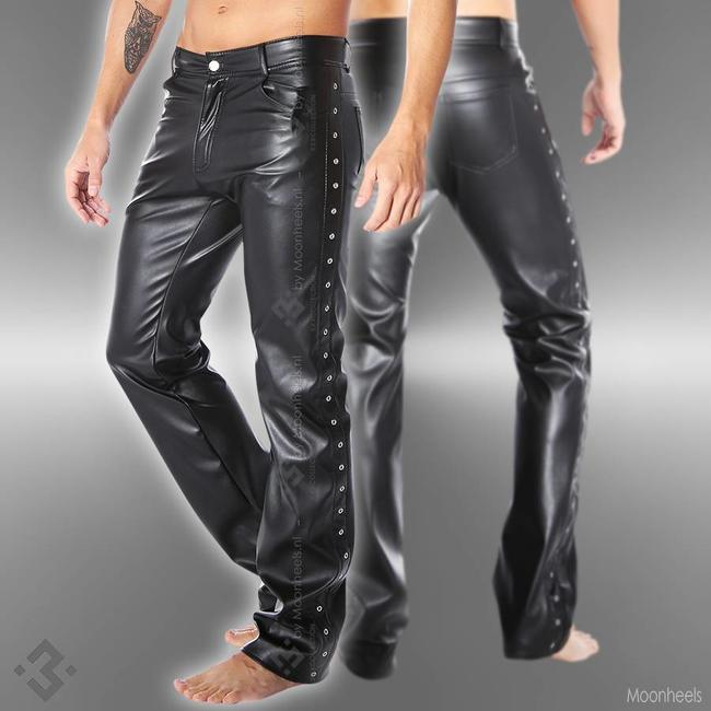 Soleil Fashion Leather pants black Man