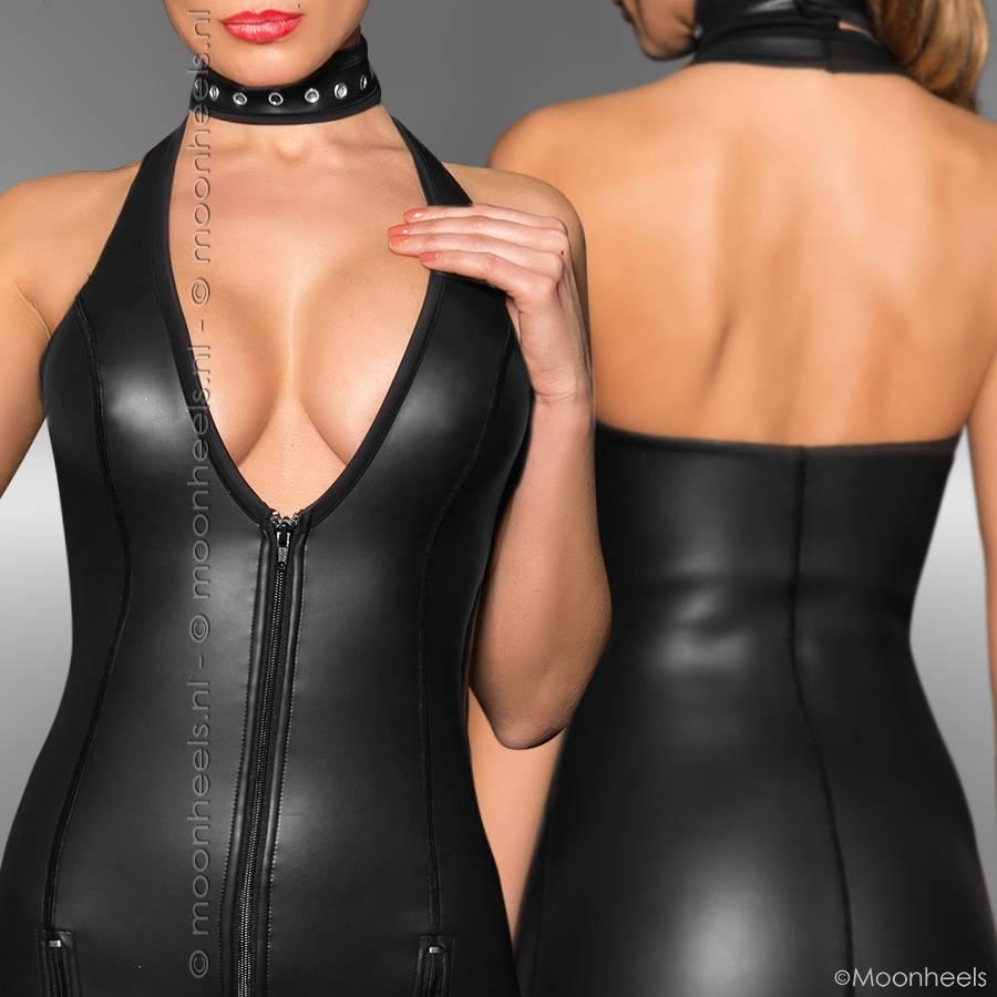 Kinky jurkje neopreen (rubber) met 3 spannende ritsen aan de voorzijde