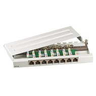 Mini-Patchpanel 8xRJ45 Cat.6A 0,5HE RAL9005 schwarz