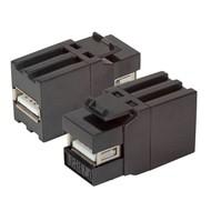 USB2.0 Snap-In Adapter schwarz A-Buchse/A-Buchse L=37mm