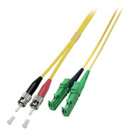 Duplex Jumper E2000®/APC8°-ST 9/125µ, 0.5 m, OS2, LSZH, gelb