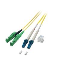 Duplex Jumper E2000®/APC8°-LC 9/125µ, 15 m, OS2, LSZH, gelb, Ø 2,8mm