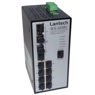 Managed Industrial Switch 8 10/100TX + 2 10/100/1000T Dual Speed SFP, -20°C ~ +60°C