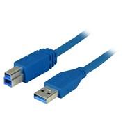 USB3.0 Anschlusskabel A-B St-St 3,0m blau, Enhanced