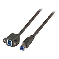 USB3.0 Verlängerungskabel B-B St.-Einbaubuchse 1,0m schwarz
