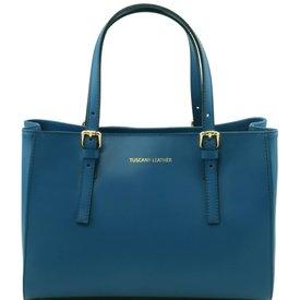 Tuscany Leather TL AURA Ruga leather handbag Teal