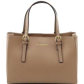Tuscany Leather TL AURA Ruga leather handbag Light Taupe