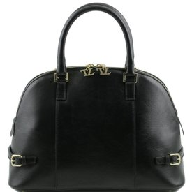 Tuscany Leather TL bag Leather handbag with buckles Black