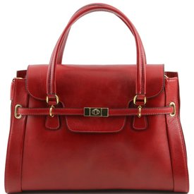 Tuscany Leather TL NEOCLASSIC Lady leather handbag with twist lock Red