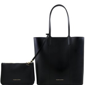 Tuscany Leather TL DAFNE Ruga leather shopping bag with matching clutch Light Black