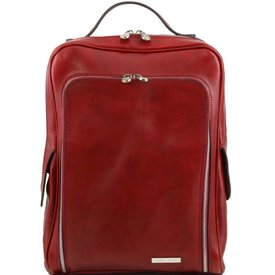 Tuscany Leather TL BANGKOK Leather laptop backpack Red
