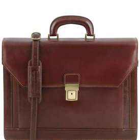 Tuscany Leather TL ROMA Leather briefcase 3 compartments Brown