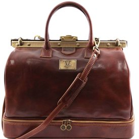 Tuscany Leather TL BARCELONA Double-bottom Gladstone Leather Bag Brown