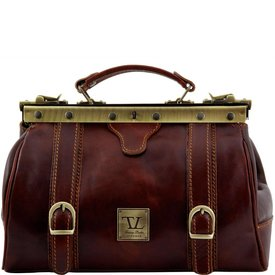 Tuscany Leather TL MONALISA Doctor gladstone leather bag with front straps Brown