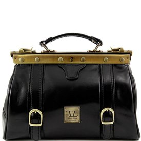 Tuscany Leather TL MONALISA Doctor gladstone leather bag with front straps Black