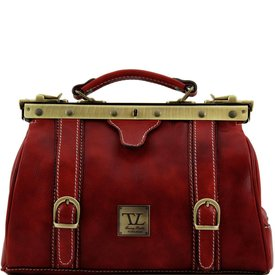 Tuscany Leather TL MONALISA Doctor gladstone leather bag with front straps Red