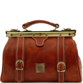 Tuscany Leather TL MONALISA Doctor gladstone leather bag with front straps Honey