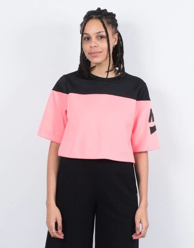 Nike Womens NSW Top Crop Irrevent Black/Bright Melon