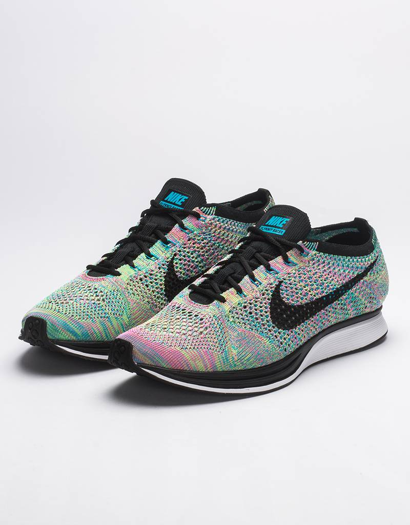 Nike flyknit racer Multicolor 2.0 green strike/black-blue lagoon pink