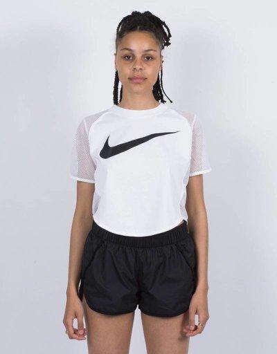 Nike womens Top Crop Swoosh Mesh White