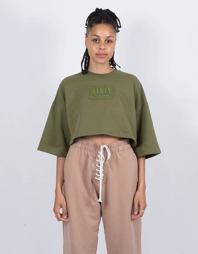 Puma Fenty Cropped Crew Neck T-Shirt Olive Branch