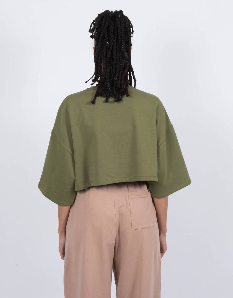 Puma Fenty Cropped Crew Neck T-Shirt Olive Branch