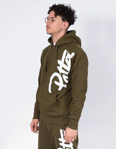 Patta Made script hoodie dark olive