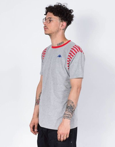 Kappa LA Track and Field Tshirt Grey Mid Melange/Red